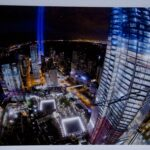 Unique World Trade Center Construction Site High-Quality Framed Photograph signed by Larry Silverstein (Night)
